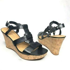 Franco Sarto Cera Black Leather Strappy Cork Wedge